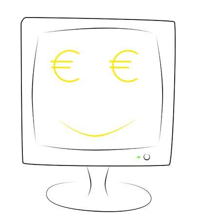 Smiling monitor with eyes - euro Stock Photo - 3758229