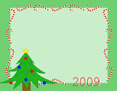 Background with christmas tree on green Stock Photo - 3764005