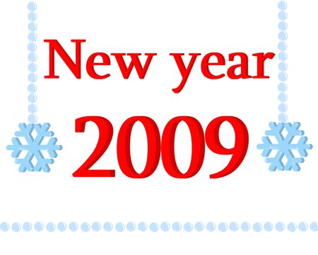 New year 2009 with snowflakes isolated on white background Stock Photo - 3828501