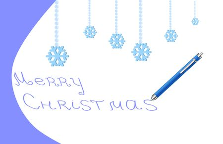 Christmas card with snowflakes and pen Stock Photo - 3845393