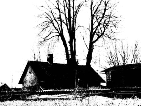 Old house and tree in grunge style