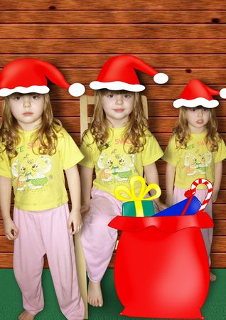 Three little gnome with full bag Stock Photo - 3960308