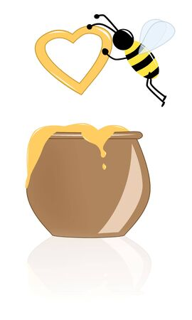 The bee with a heart from honey flies over a pot