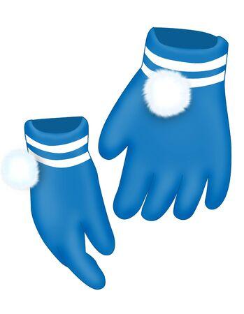 pompon: Dark blue gloves with a fluffy white pompon