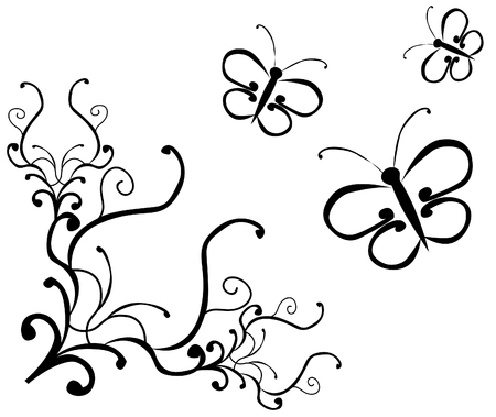 black floral ornament and butterflies Vector