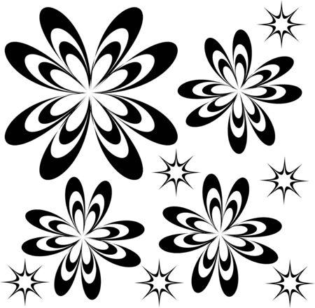 asterisks: abstract flowers and asterisks Illustration