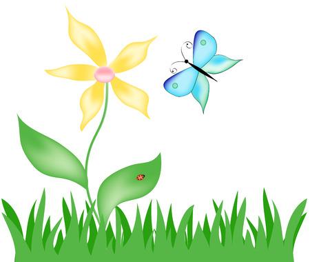 de vlinder met blauwe vleugels en een gele bloem