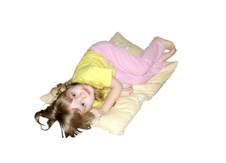 little girl on pillow Stock Photo - 4679374