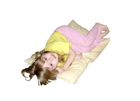 little girl on pillow Stock Photo - 4679374