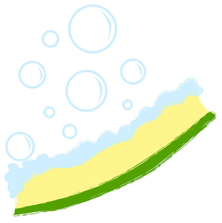 yellow sponge with soap bubbles