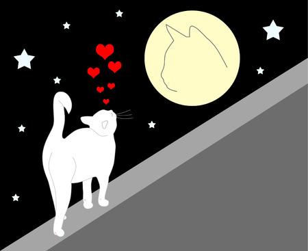 enamored white cat Stock Vector - 6294403
