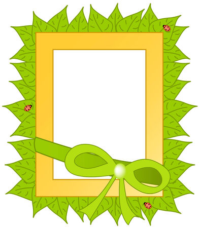 Yellow frame with green leaves Vector