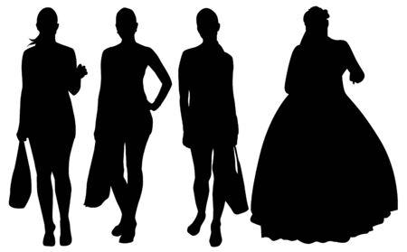 four female figures Vector