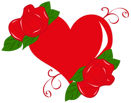 red heart and roses Vector