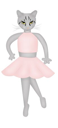 cartoon dansing cat in pink dress photo
