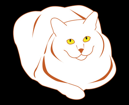 smiling thick white cat Stock Vector - 8864838
