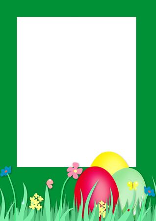 easter frame with a grass and colored eggs photo