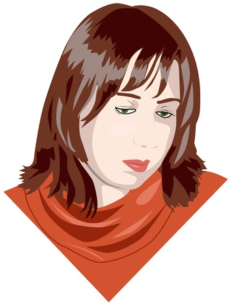 portrait of the sad young woman Illustration