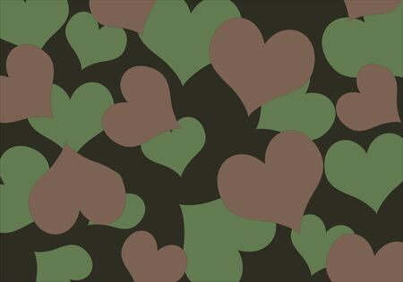 Vector illustration, camouflage with pattern from hearts Vector