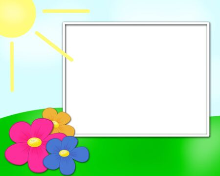 spring frame with sun and flowers photo