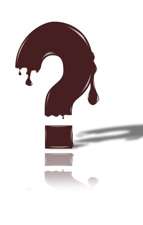 thawing: chocolate question mark isolated on the white