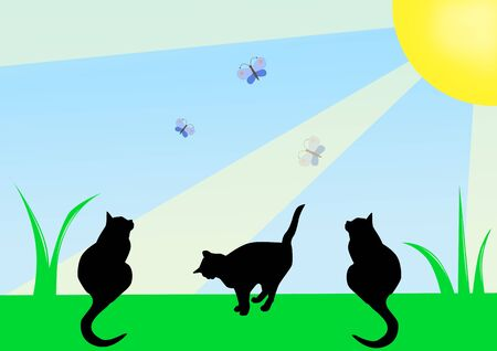 three black cats on a meadow look at butterflies, illustration illustration