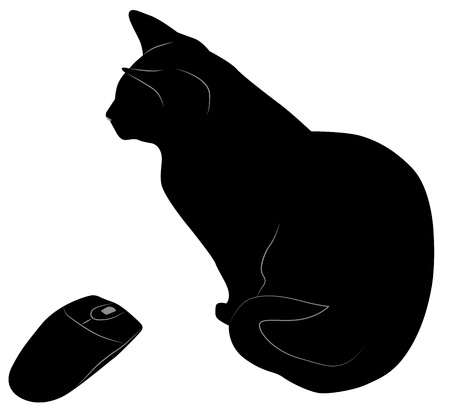 black cat and computer mouse Vector