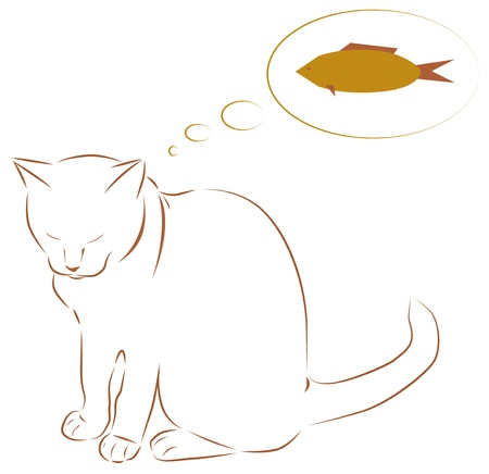 White cat dreaming of fish illustration Stock Vector - 15035254