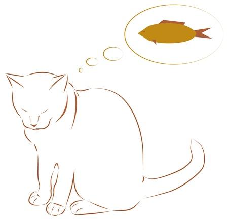cretive: White cat dreaming of fish illustration Illustration