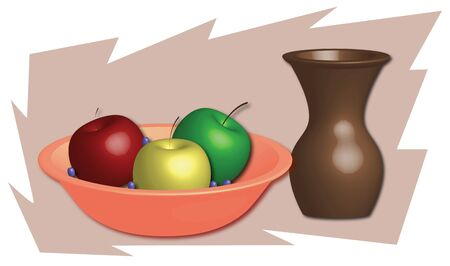 apples and grapes in a bowl and brown vase photo