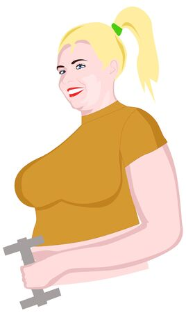 chubby cartoon: Plump girl playing sports with dumbbells