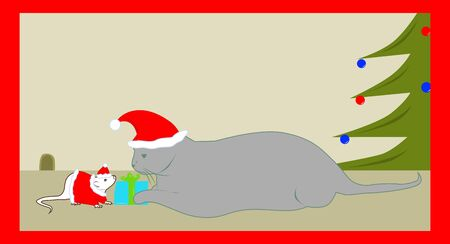 cat got a gift from the mouse - Santa Claus Vector