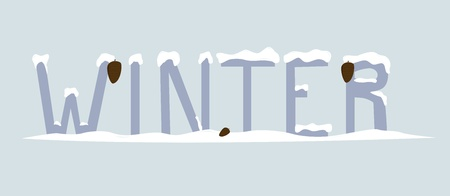 inscription - winter in snow with pine cones,  illustration Stock Vector - 16279415