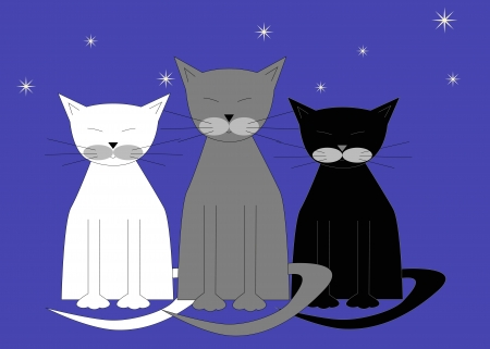 grey cat: three sleeping cats on a blue background, vector illustration Illustration
