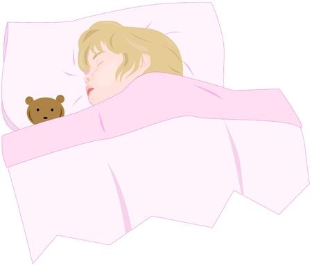Petite fille dormir avec un ours en peluche