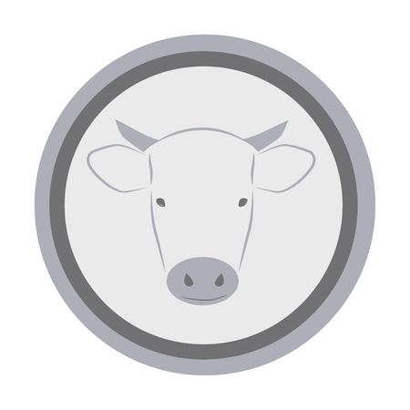 hocico: Icono redondo con hocico de vaca Vectores