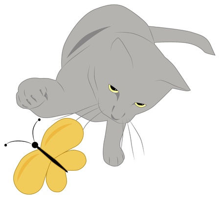 yellow butterfly: gray cat catches a yellow butterfly