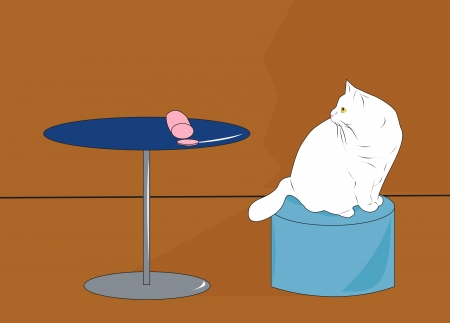 cat looking for sausage lying on the table Vector