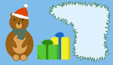 Card with gifts and teddy bear in the Christmas hat Stock Vector - 16789198