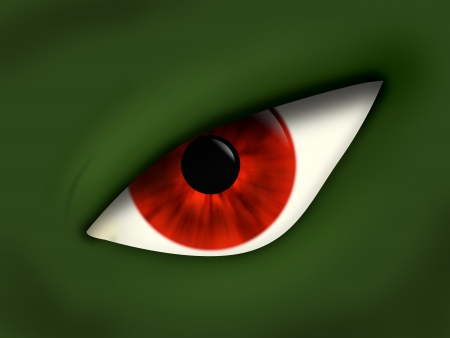 Evil red eye of the green monster, close up Stock Photo - 17209741