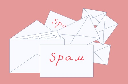 Many envelopes with letters labeled spam, vector Stock Vector - 17612752