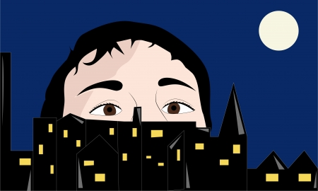 Man hiding behind the houses in the night city, vector illustration Vector