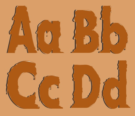 Part of the alphabet, the letters of melted caramel Vector