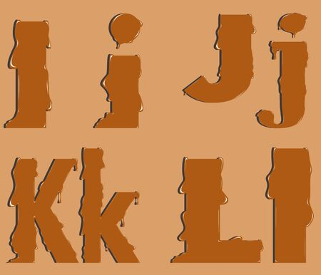part of the alphabet the letters of melted caramel Vector