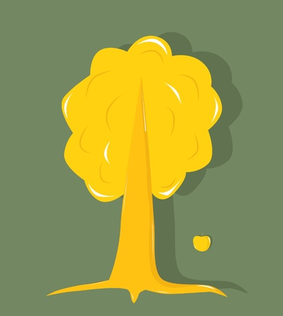 Golden tree with an apple on a green background Vector