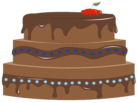 Celebratory chocolate cake with cherries illustration Vector