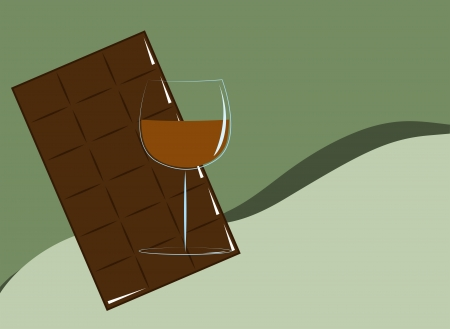 A glass of cognac and a bar of chocolate on a green background Stock Vector - 19069882