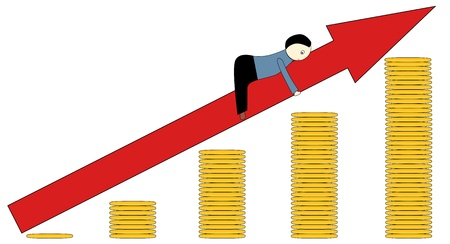 Conceptual illustration showing good financial growth, vector Illustration