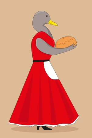cartoon duck: Cartoon duck in a red dress with the bread in his hands, vector