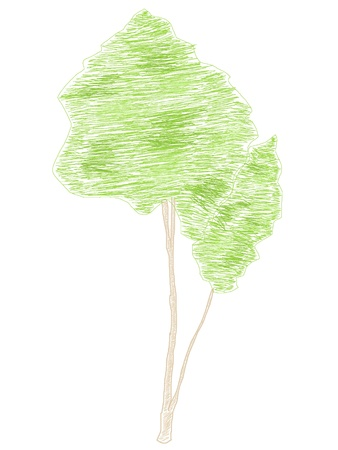 Drawn with colored pencils green tree, illustration Stock Photo